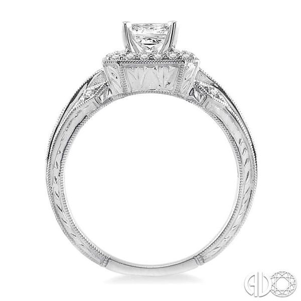 1 Ctw Diamond Engagement Ring with 1/2 Ct Princess Cut Center Stone in 14K White Gold Image 3 Grogan Jewelers Florence, AL