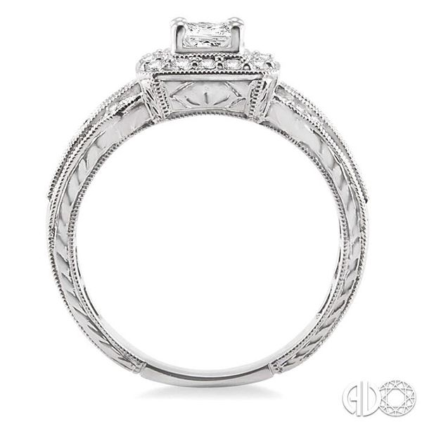 3/4 Ctw Diamond Engagement Ring with 1/3 Ct Princess Cut Center Stone in 14K White Gold Image 3 Grogan Jewelers Florence, AL