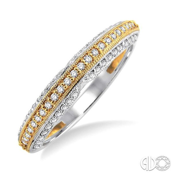 1/4 Ctw Round Cut Diamond Wedding Band in 14K White and Yellow Gold Grogan Jewelers Florence, AL