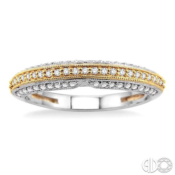 1/4 Ctw Round Cut Diamond Wedding Band in 14K White and Yellow Gold Image 2 Grogan Jewelers Florence, AL