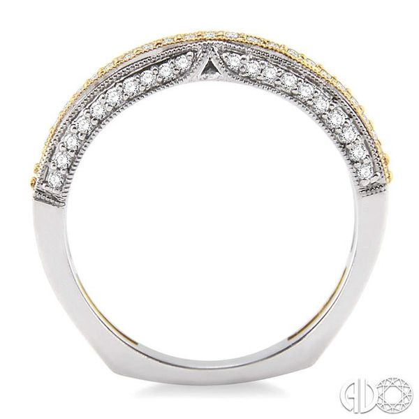 1/4 Ctw Round Cut Diamond Wedding Band in 14K White and Yellow Gold Image 3 Grogan Jewelers Florence, AL