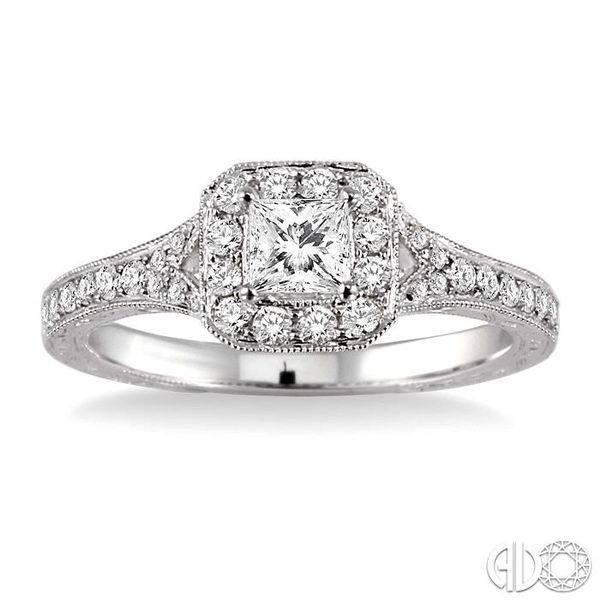 5/8 Ctw Diamond Engagement Ring with 1/4 Ct Princess Cut Center Stone in 14K White Gold Image 2 Grogan Jewelers Florence, AL