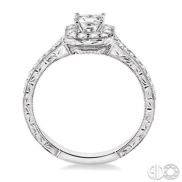 5/8 Ctw Diamond Engagement Ring with 1/4 Ct Princess Cut Center Stone in 14K White Gold Image 3 Grogan Jewelers Florence, AL