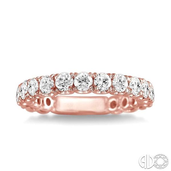 3/4 Ctw Round Cut Diamond Wedding Band in 14K Rose Gold Image 2 Grogan Jewelers Florence, AL