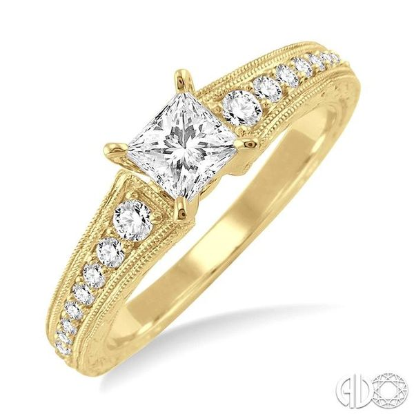 5/8 Ctw Diamond Engagement Ring with 3/8 Ct Princess Cut Center Stone in 14K Yellow Gold Grogan Jewelers Florence, AL
