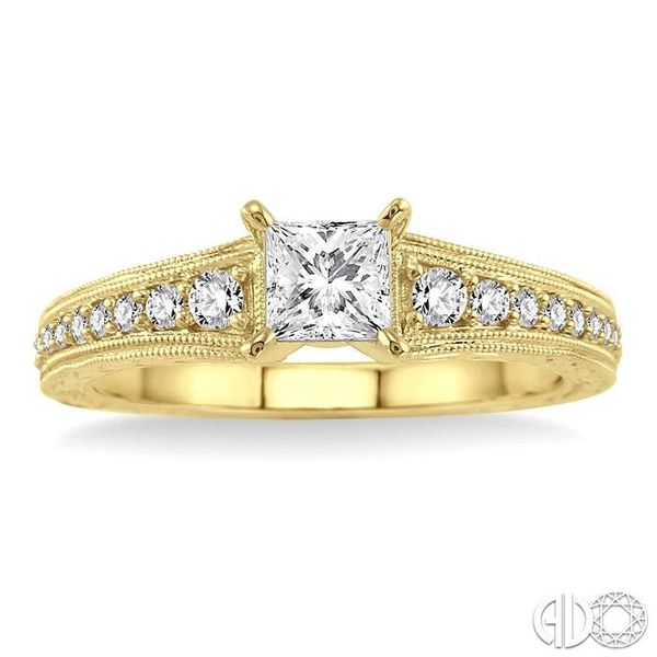 5/8 Ctw Diamond Engagement Ring with 3/8 Ct Princess Cut Center Stone in 14K Yellow Gold Image 2 Grogan Jewelers Florence, AL