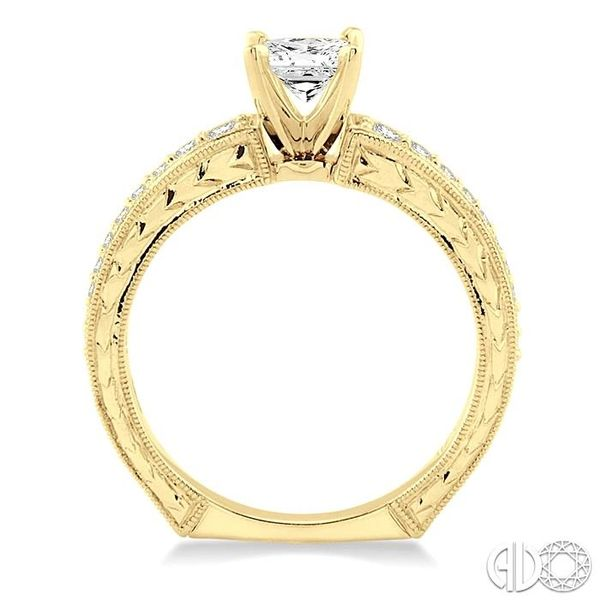 5/8 Ctw Diamond Engagement Ring with 3/8 Ct Princess Cut Center Stone in 14K Yellow Gold Image 3 Grogan Jewelers Florence, AL