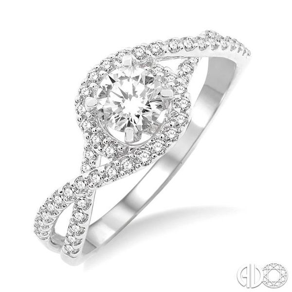 5/8 Ctw Diamond Engagement Ring with 1/3 Ct Round Cut Center Stone in 14K White Gold Grogan Jewelers Florence, AL