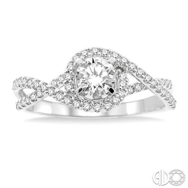 5/8 Ctw Diamond Engagement Ring with 1/3 Ct Round Cut Center Stone in 14K White Gold Image 2 Grogan Jewelers Florence, AL