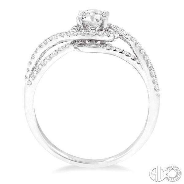 5/8 Ctw Diamond Engagement Ring with 1/3 Ct Round Cut Center Stone in 14K White Gold Image 3 Grogan Jewelers Florence, AL