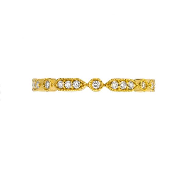 The Deco Mini with White Diamonds in Yellow Gold Grogan Jewelers Florence, AL