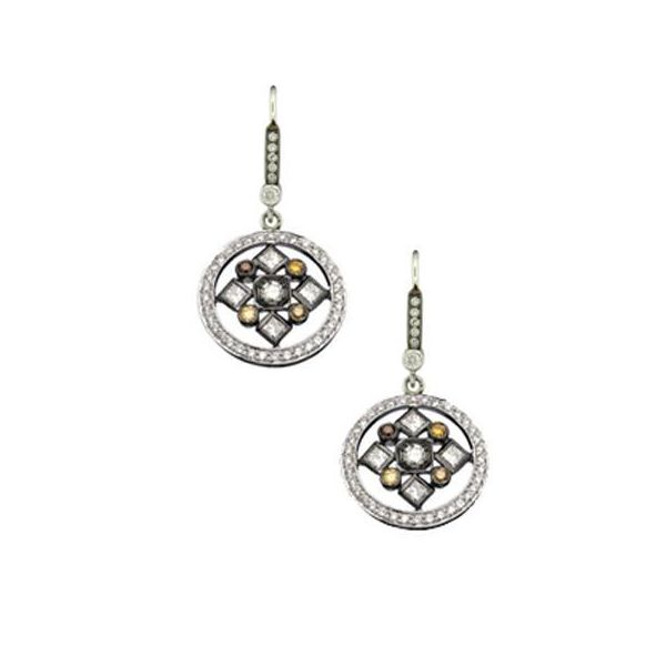 The Art Deco Drop Earrings with Natural colored diamonds in White Gold and Black Rhodium Grogan Jewelers Florence, AL