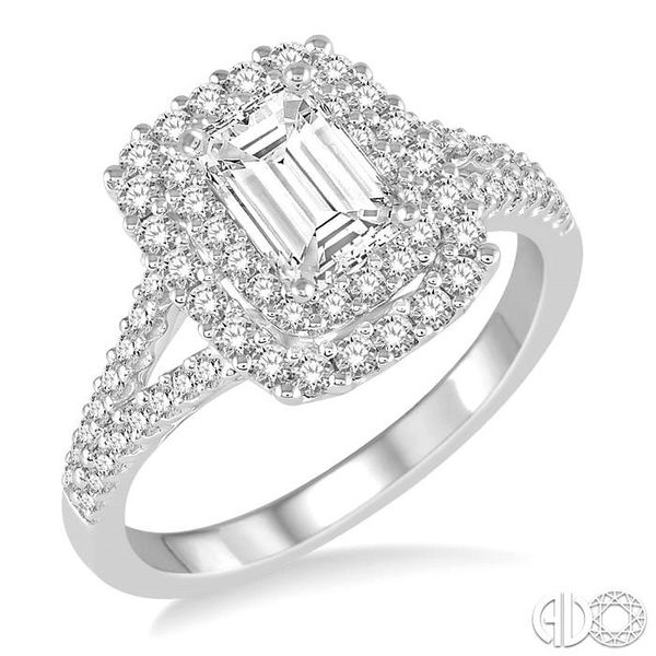 1 1/6 Ctw Diamond Engagement Ring with 1/2 Ct Octagon Shaped Center stone in 14K White Gold Grogan Jewelers Florence, AL