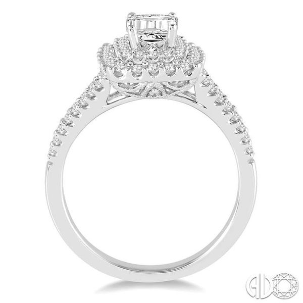 1 1/6 Ctw Diamond Engagement Ring with 1/2 Ct Octagon Shaped Center stone in 14K White Gold Image 3 Grogan Jewelers Florence, AL