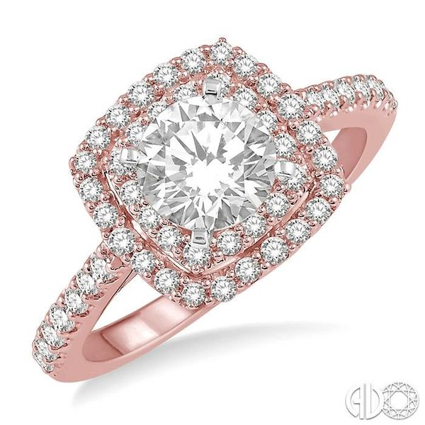1 Ctw Round Cut Center Stone Diamond Ladies Engagement Ring in 14K Rose and White Gold Grogan Jewelers Florence, AL