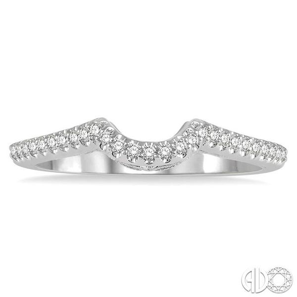 1/6 Ctw Arched Center Diamond Wedding Band in 14K White Gold Image 2 Grogan Jewelers Florence, AL