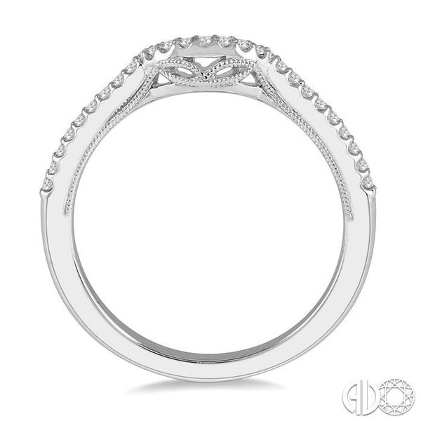 1/6 Ctw Arched Center Diamond Wedding Band in 14K White Gold Image 3 Grogan Jewelers Florence, AL