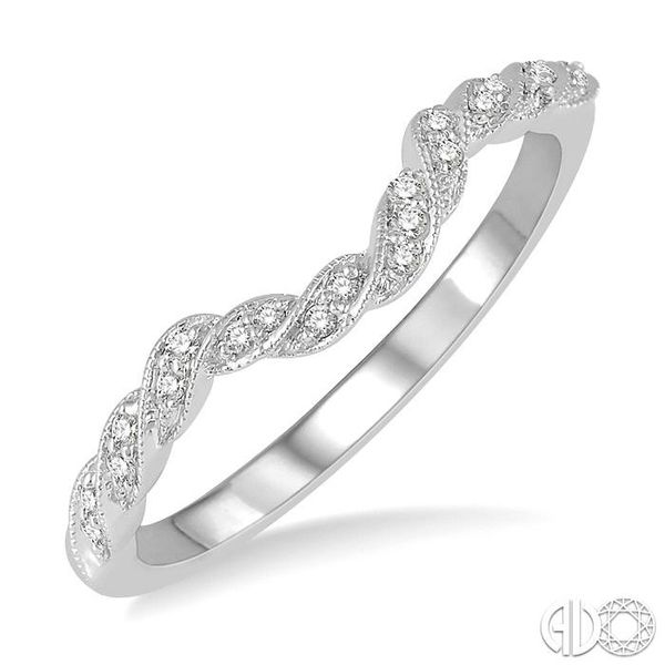 1/10 ctw Spiral Curved Center Round Cut Diamond Wedding Band in 14K White Gold Grogan Jewelers Florence, AL