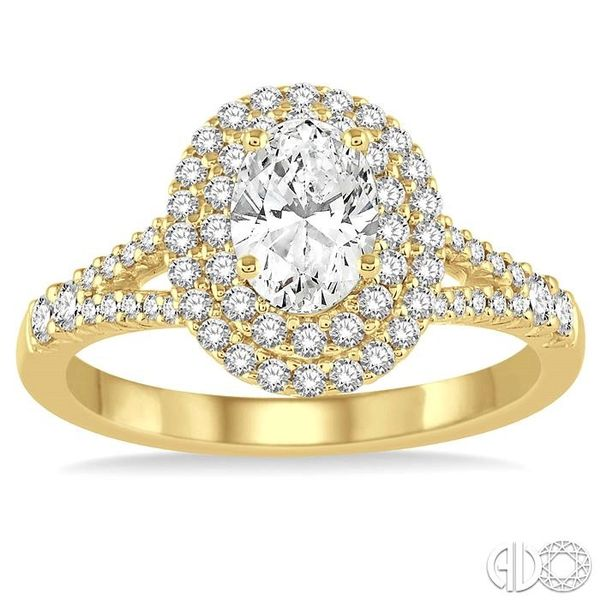 1 Ctw Diamond Engagement Ring with 1/2 Ct Oval Cut Center Stone in 14K Yellow Gold Image 2 Grogan Jewelers Florence, AL