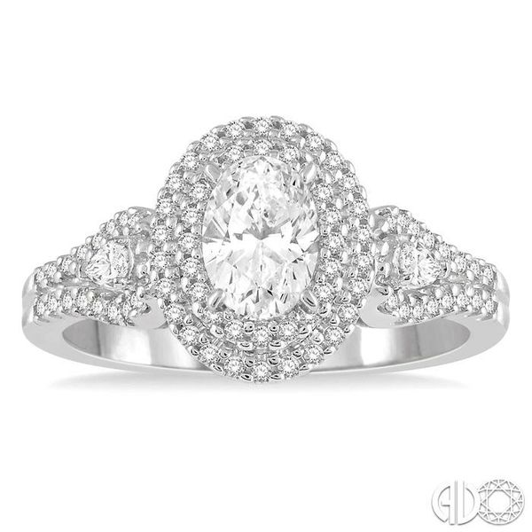 1 Ctw Oval Shape Diamond Engagement Ring in 14K White Gold Image 2 Grogan Jewelers Florence, AL