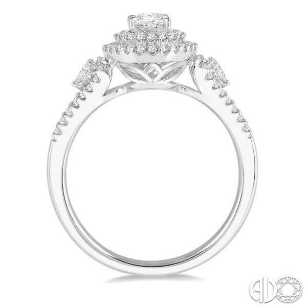 1 Ctw Oval Shape Diamond Engagement Ring in 14K White Gold Image 3 Grogan Jewelers Florence, AL