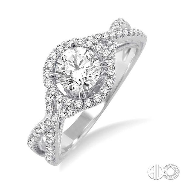 1 Ctw Diamond Engagement Ring with 5/8 Ct Round Cut Center Stone in 14K White Gold Grogan Jewelers Florence, AL