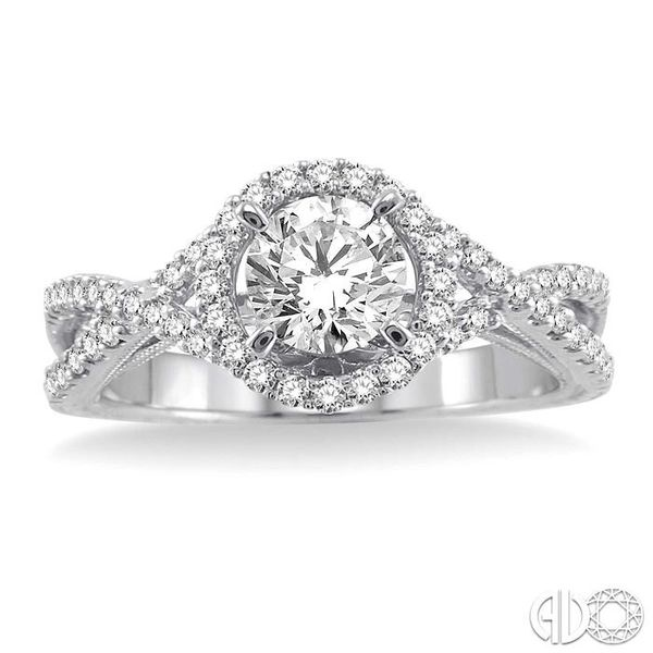 1 Ctw Diamond Engagement Ring with 5/8 Ct Round Cut Center Stone in 14K White Gold Image 2 Grogan Jewelers Florence, AL