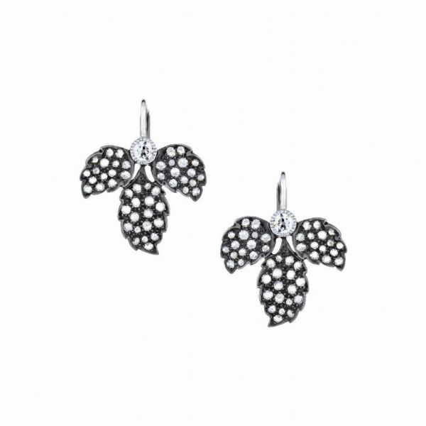 The Heritage Leaf Earrings with White Diamonds in White Gold and Black Rhodium Grogan Jewelers Florence, AL