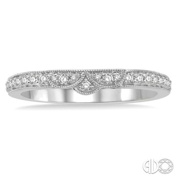 1/6 Ctw Tri Arc Center Round Cut Diamond Wedding Band in 14K White Gold Image 2 Grogan Jewelers Florence, AL