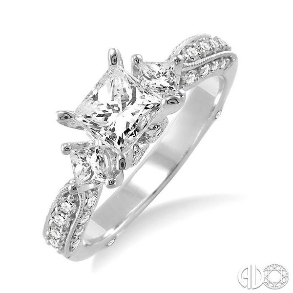 1 1/2 Ctw Diamond Engagement Ring with 3/4 Ct Princess Cut Center Stone in 14K White Gold Grogan Jewelers Florence, AL