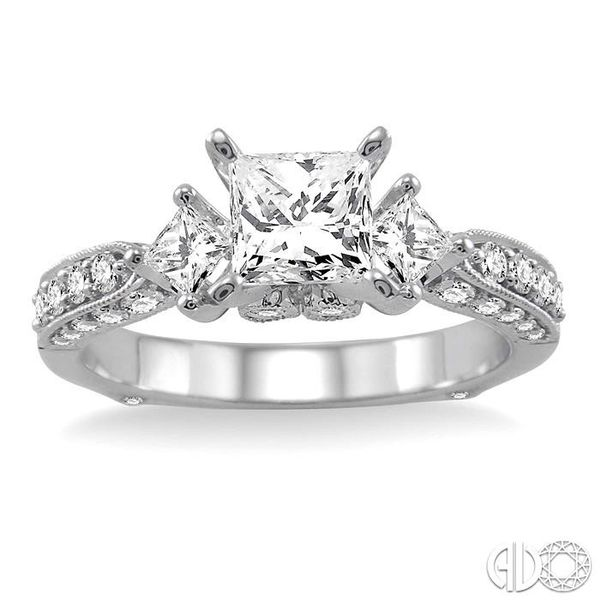 1 1/2 Ctw Diamond Engagement Ring with 3/4 Ct Princess Cut Center Stone in 14K White Gold Image 2 Grogan Jewelers Florence, AL