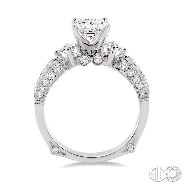 1 1/2 Ctw Diamond Engagement Ring with 3/4 Ct Princess Cut Center Stone in 14K White Gold Image 3 Grogan Jewelers Florence, AL