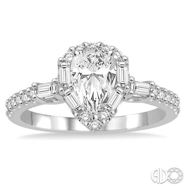 1 Ctw Diamond Engagement Ring with 1/2 Ct Pear cut Center Stone in 14K White Gold Image 2 Grogan Jewelers Florence, AL