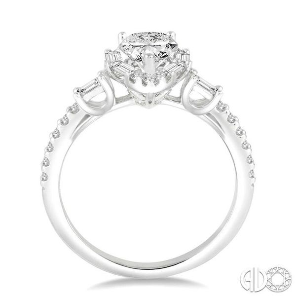 1 Ctw Diamond Engagement Ring with 1/2 Ct Pear cut Center Stone in 14K White Gold Image 3 Grogan Jewelers Florence, AL