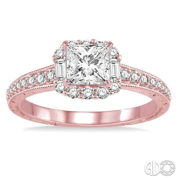 3/4 Ctw Diamond Engagement Ring with 1/3 Ct Princess Cut Center Stone in 14K Rose Gold Image 2 Grogan Jewelers Florence, AL