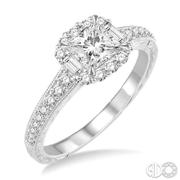 3/4 Ctw Diamond Engagement Ring with 1/3 Ct Princess Cut Center Stone in 14K White Gold Grogan Jewelers Florence, AL