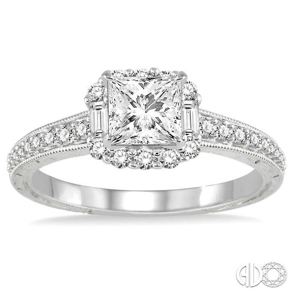 3/4 Ctw Diamond Engagement Ring with 1/3 Ct Princess Cut Center Stone in 14K White Gold Image 2 Grogan Jewelers Florence, AL
