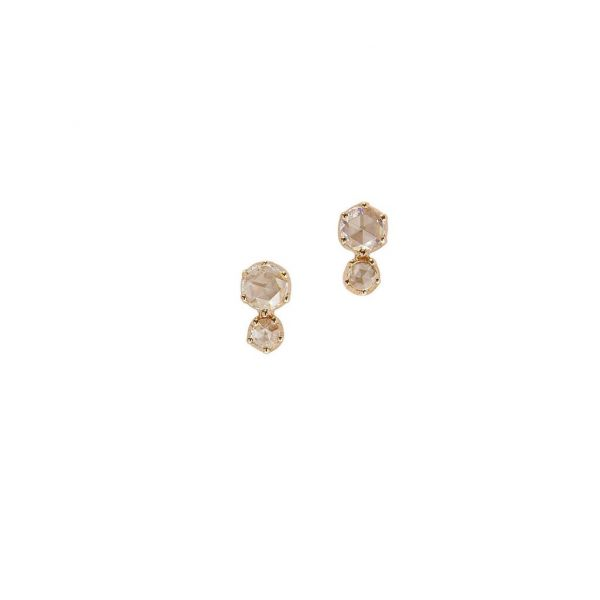 The Duet Earrings with White Diamonds in Yellow Gold Grogan Jewelers Florence, AL