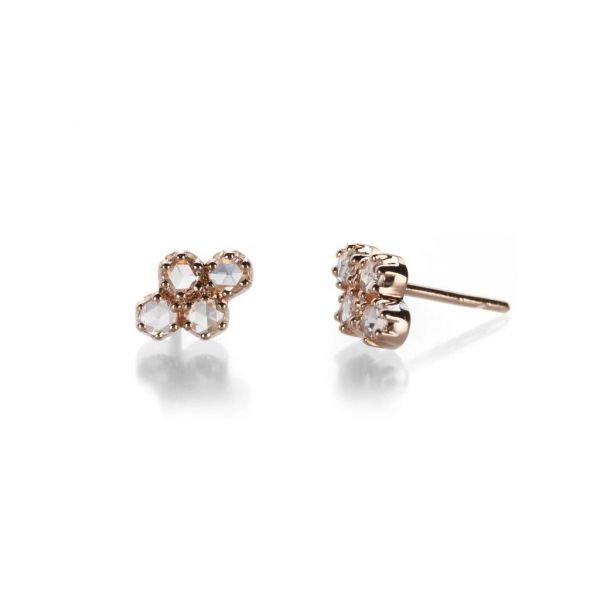 The Lillian Earrings with White Diamonds in Rose Gold Grogan Jewelers Florence, AL
