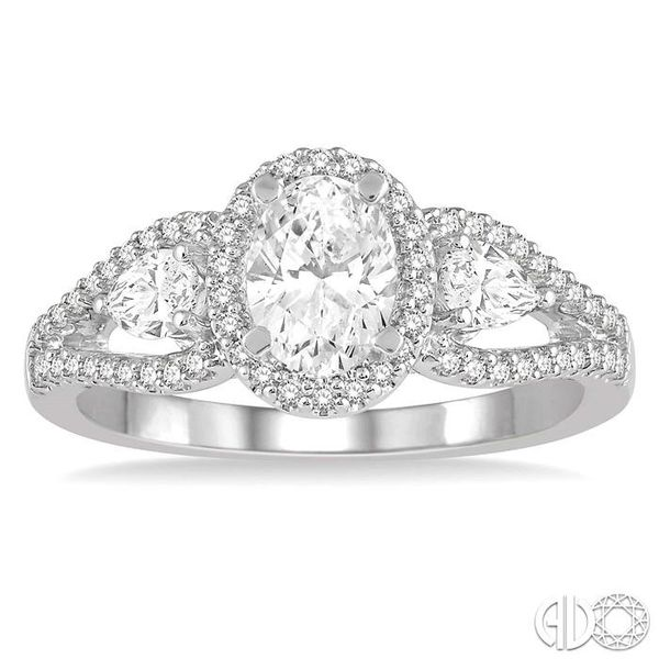 7/8 Ctw Oval Shape Diamond Engagement Ring in 14K White Gold Image 2 Grogan Jewelers Florence, AL