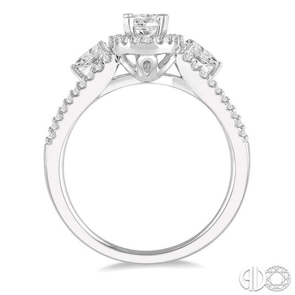 7/8 Ctw Oval Shape Diamond Engagement Ring in 14K White Gold Image 3 Grogan Jewelers Florence, AL