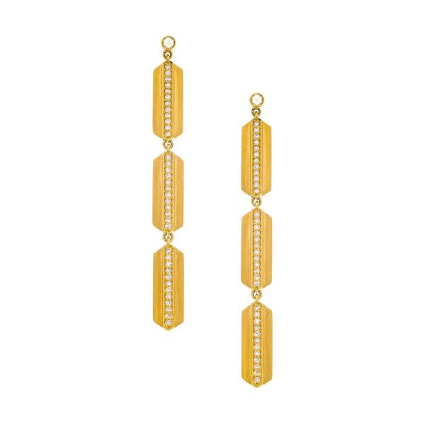 The Maya Long Earrings with White Diamonds in Yellow Gold Grogan Jewelers Florence, AL