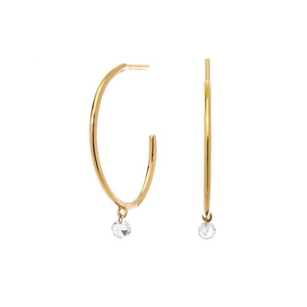 The Cien Hoops with White Diamonds in Yellow Gold Grogan Jewelers Florence, AL