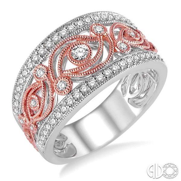1/2 Ctw Round Cut Diamond Fashion Band in 14K White and Rose/Rose Gold Grogan Jewelers Florence, AL