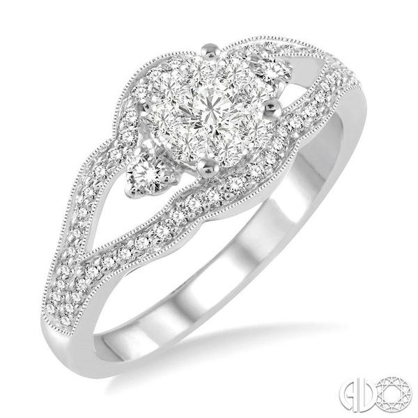 1/2 Ctw Round Cut Diamond Lovebright Ring in 14K White Gold Grogan Jewelers Florence, AL