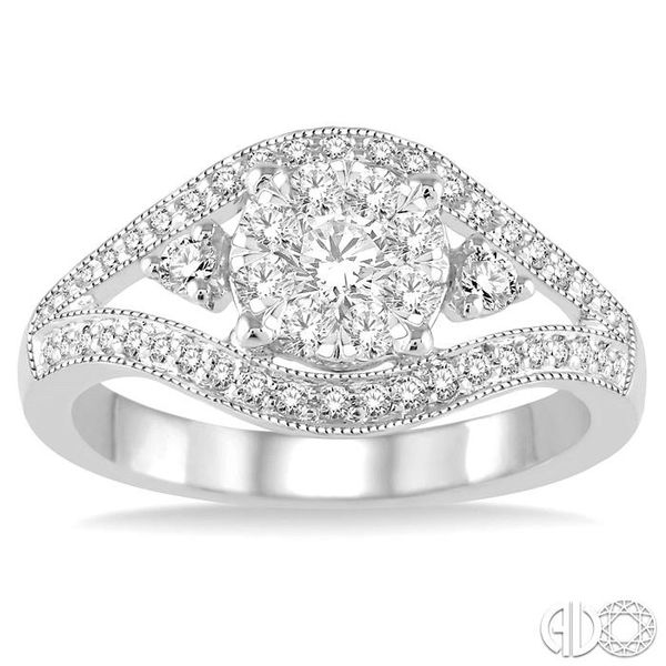5/8 Ctw Round Cut Diamond Lovebright Ring in 14K White Gold Image 2 Grogan Jewelers Florence, AL