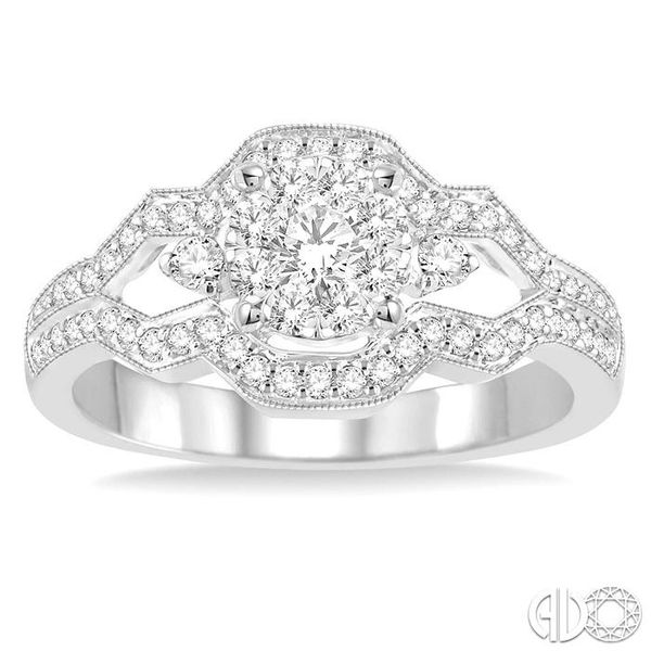 1/2 Ctw Round Cut Diamond Lovebright Ring in 14K White Gold Image 2 Grogan Jewelers Florence, AL