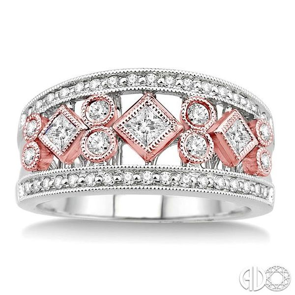 5/8 Ctw Diamond Fashion Ring in 14K White and Rose Gold Image 2 Grogan Jewelers Florence, AL