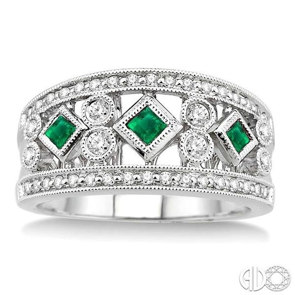 3/8 Ctw Round Cut Diamond and 2.2mm & 2.4mm Princess Cut Emerald Fashion Band in 14K White Gold Image 2 Grogan Jewelers Florence, AL
