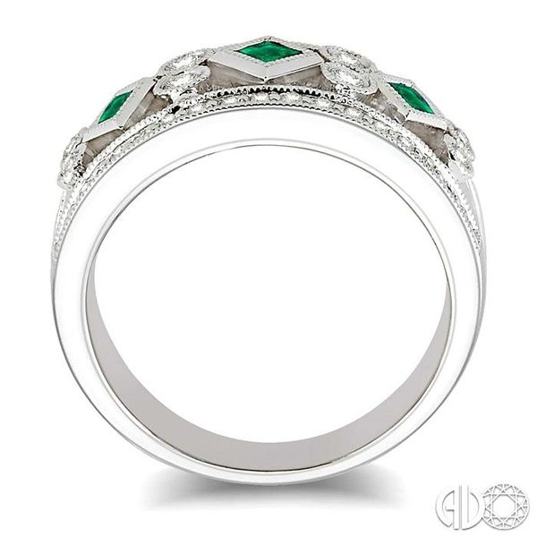3/8 Ctw Round Cut Diamond and 2.2mm & 2.4mm Princess Cut Emerald Fashion Band in 14K White Gold Image 3 Grogan Jewelers Florence, AL